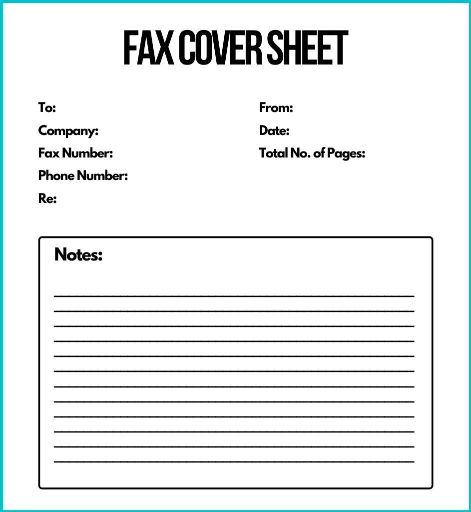 Personal Fax Cover Sheet Word