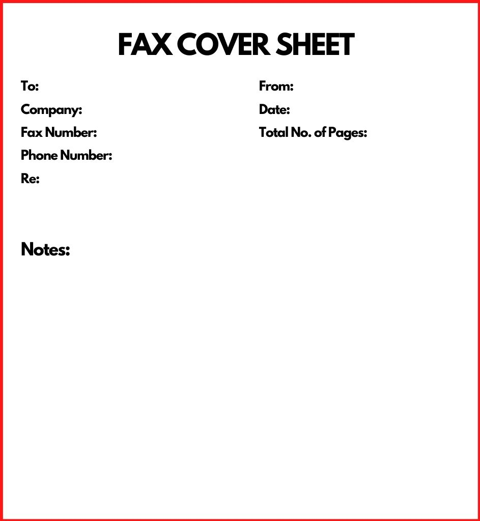 Printable Personal Fax Cover Sheet