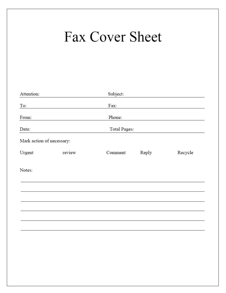 blank fax cover sheet download