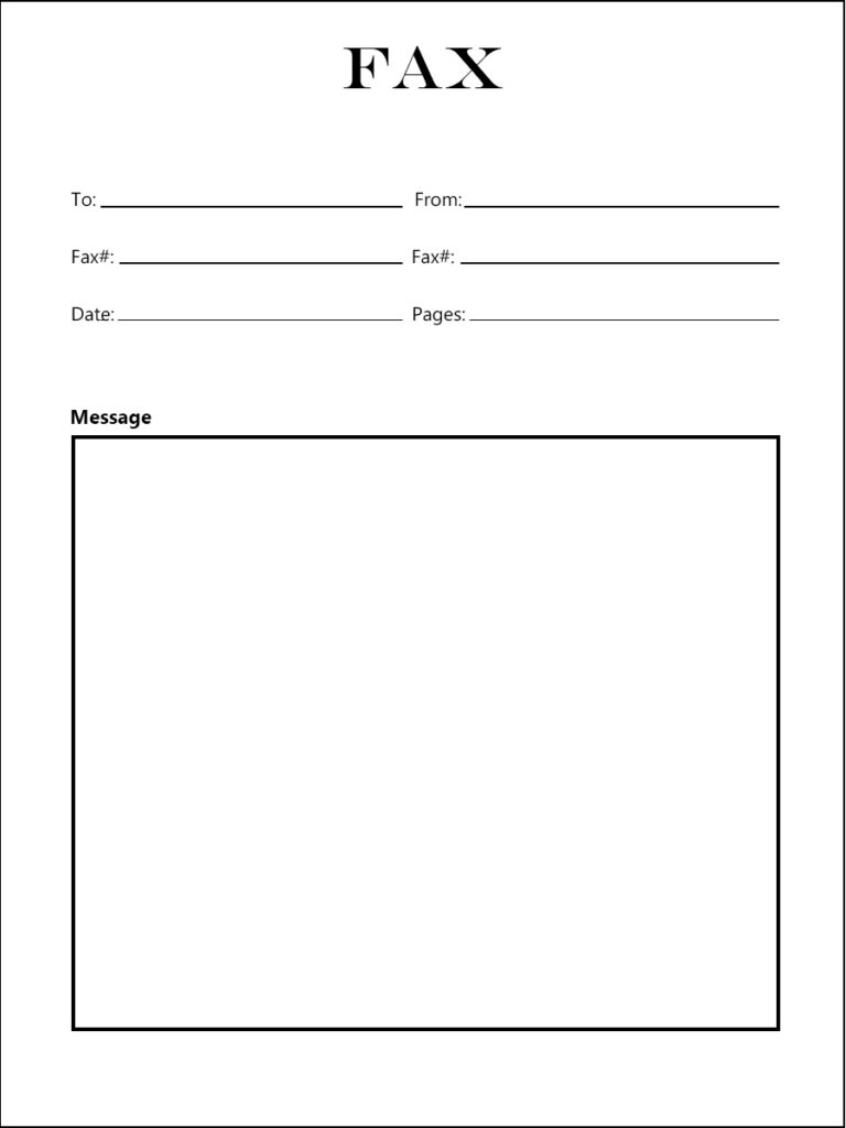 Free Fax Cover Sheet Word Template