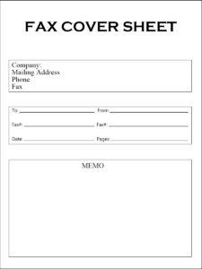 Printable Fax Cover Sheet Word Template