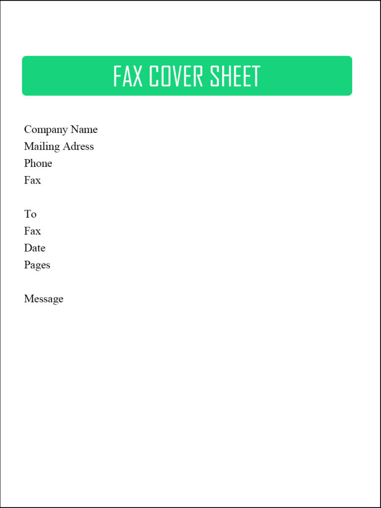 fax cover sheet word